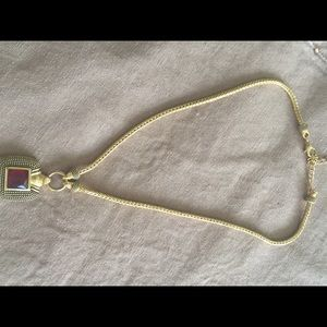 Jewelry - Necklace gold tone with ruby like stone